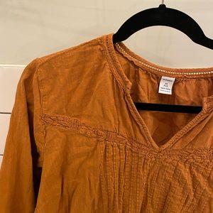 Rust orange peasant blouse